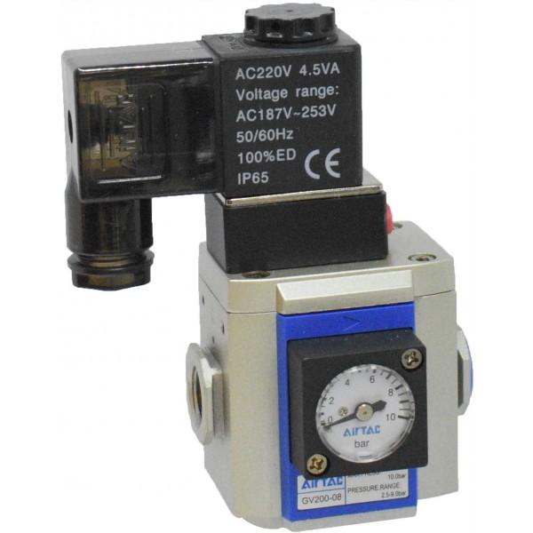 "Valva pornire lenta 1/4"" cu bobina si conector cu led prezenta tensiune 220VAC"