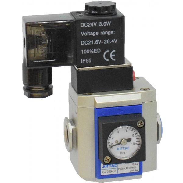 "Valva pornire lenta 1/4"" cu bobina si conector cu led prezenta tensiune 24VDC"