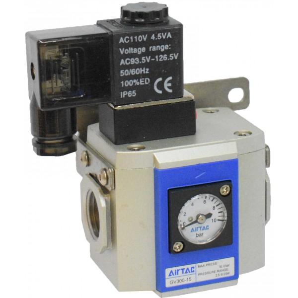 "Valva pornire lenta 1/2 "" cu bobina si conector cu led prezenta tensiune 110VAC"