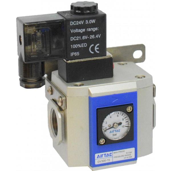 "Valva pornire lenta 1/2 "" cu bobina si conector cu led prezenta tensiune 24VDC"