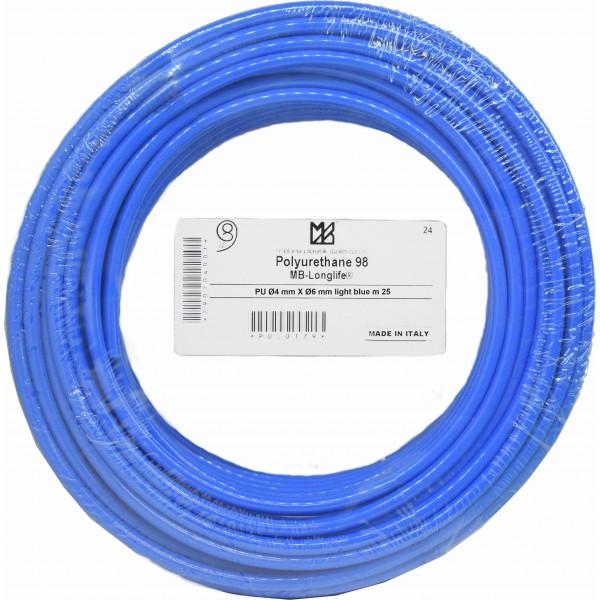 Furtun poliuretan 6x4 albastru rola 25m
